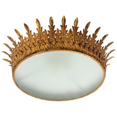 Spanish Extra Large Neoclassical Gilt Iron Sunburst Crown Ceiling Light Fixture