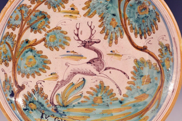 Ceramic Spanish Faience Charger with Leaping Stag, Talavera, circa 1780-1800 For Sale