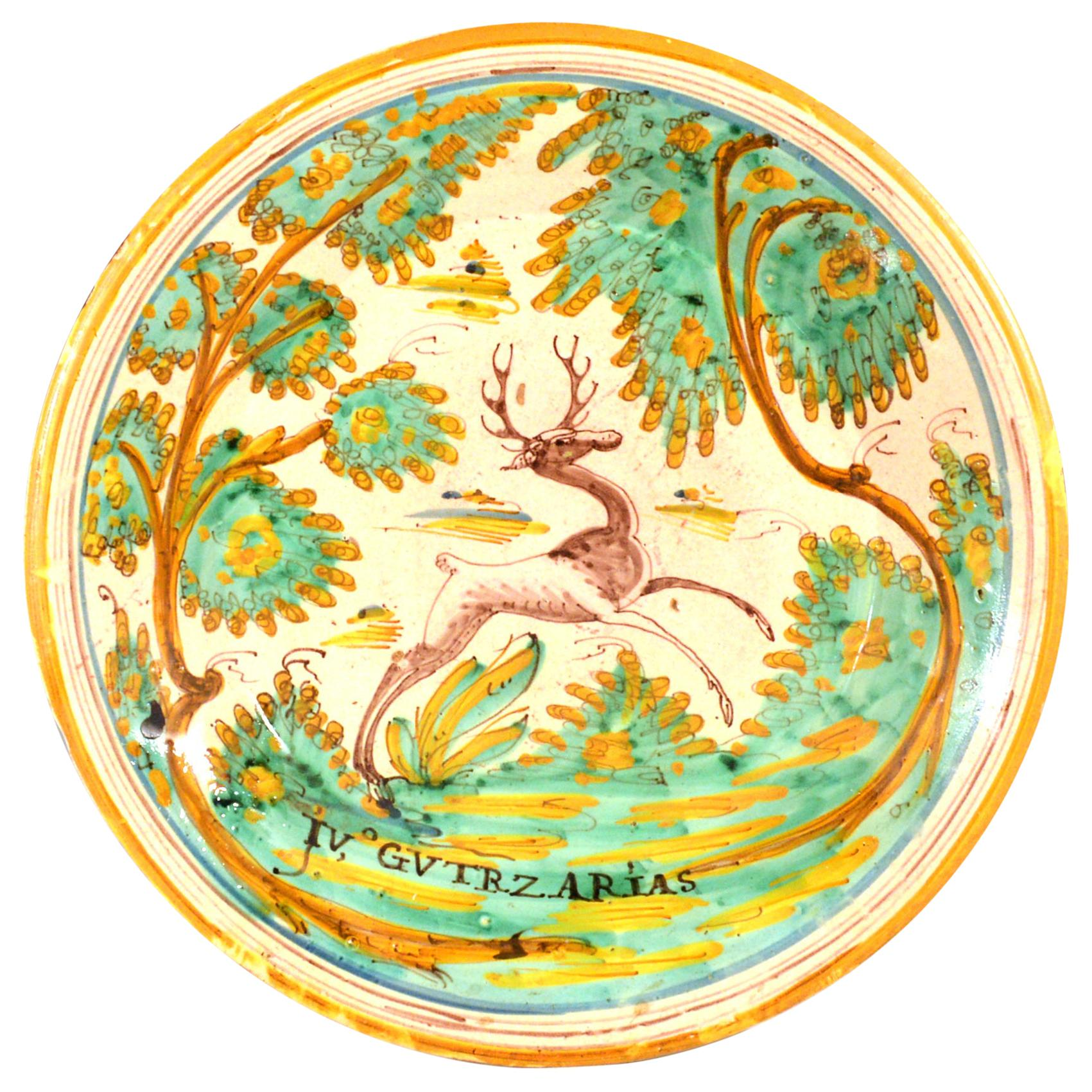 Spanish Faience Charger with Leaping Stag, Talavera, circa 1780-1800