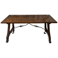 Spanish Farm Table with Trestle Base and Iron Support