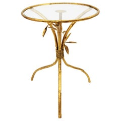 Spanish Faux Bamboo Gilt Iron Round Side Table or Drinks Table, 1950s