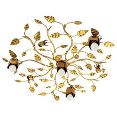 Spanish Foliate Floral Gilt Iron Flushmount Chandelier or Wall Sconce