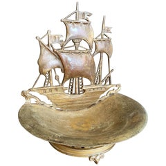 """Spanish Galleon,"" Romantic 1920s Bronze Sculptural Bowl with Ram's Head Feet"