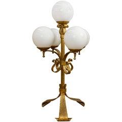 Spanish Gilt Iron Candelabra Lamp with Glass Globes