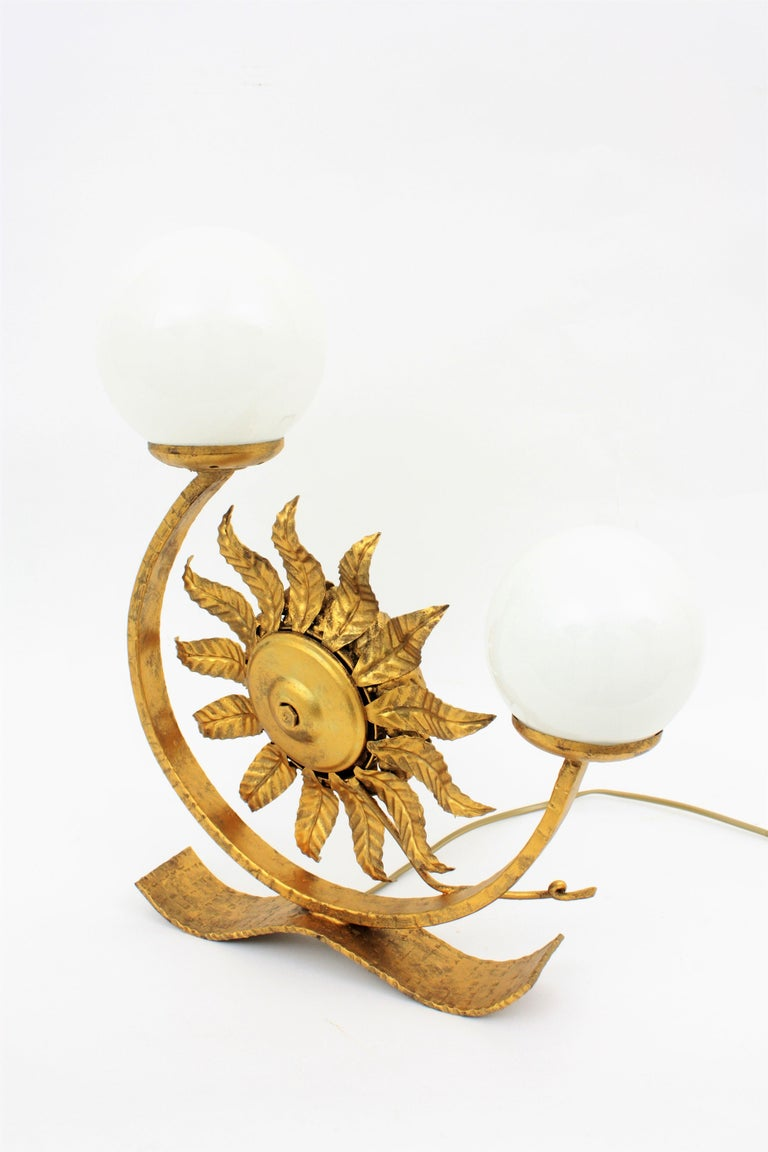 Spanish Gilt Iron Sunflower Sunburst Mirror Table Lamp with Milk Glass Globes For Sale 7