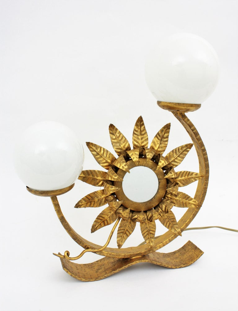 Spanish Gilt Iron Sunflower Sunburst Mirror Table Lamp with Milk Glass Globes For Sale 1