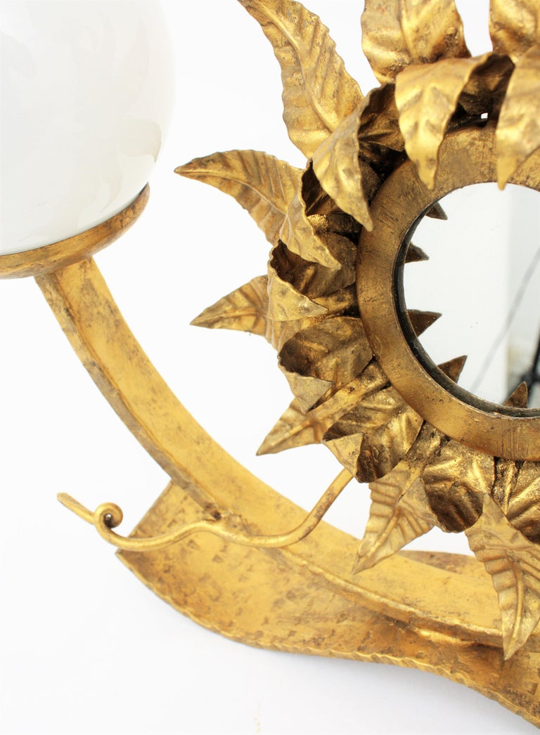 Spanish Gilt Iron Sunflower Sunburst Mirror Table Lamp with Milk Glass Globes For Sale 4