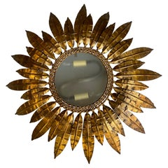 Spanish Gilt Metal Ceiling Fixture with Double Feather Design