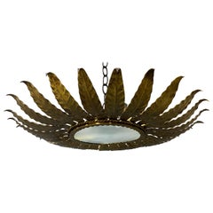 Spanish Gilt Metal Ceiling Fixture with Radiating Leaves