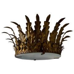 Spanish Gilt Metal Crown Ceiling Fixture