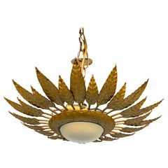 Spanish Gilt Metal Crown Ceiling Fixture with Opaline Globe
