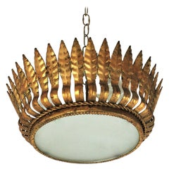 Spanish Gilt Metal Crown Sunburst Flushmount with Leafed Frame and Frosted Glass