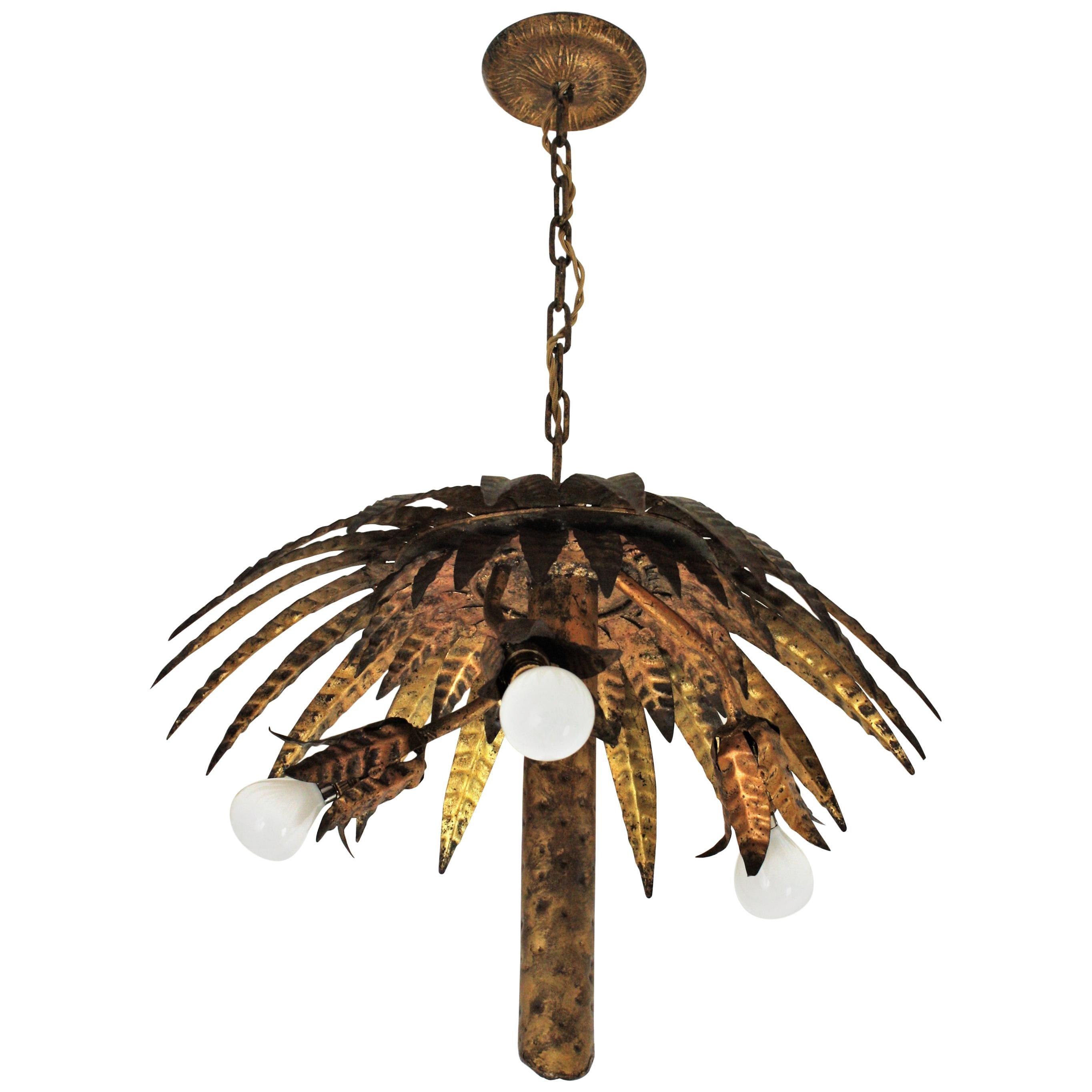 Spanish Gilt Metal Palm Tree Chandelier or Flushmount