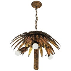 Spanish Gilt Metal Palm Tree Chandelier or Flushmount