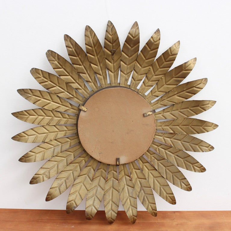 Spanish Gilt Metal Sunburst Mirror, circa 1960s For Sale 4
