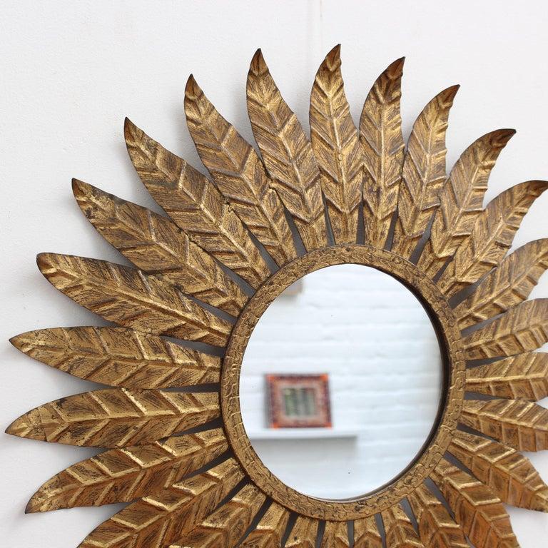 Spanish Gilt Metal Sunburst Mirror, circa 1960s In Fair Condition For Sale In London, GB