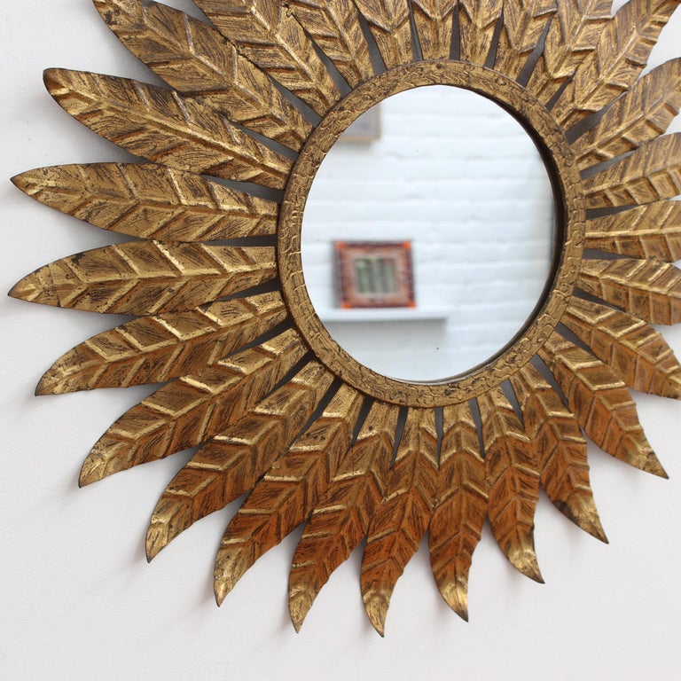 20th Century Spanish Gilt Metal Sunburst Mirror, circa 1960s For Sale
