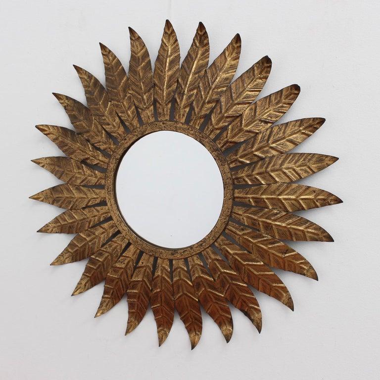 Sheet Metal Spanish Gilt Metal Sunburst Mirror, circa 1960s For Sale