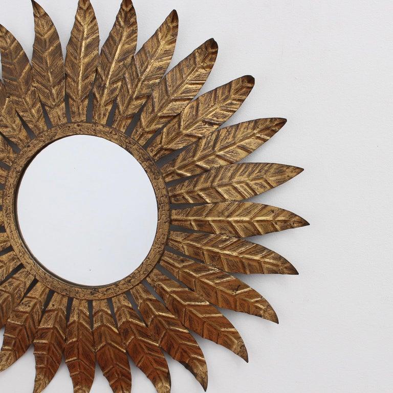 Spanish Gilt Metal Sunburst Mirror, circa 1960s For Sale 1