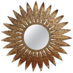 Spanish Gilt Metal Sunburst Mirror, circa 1960s