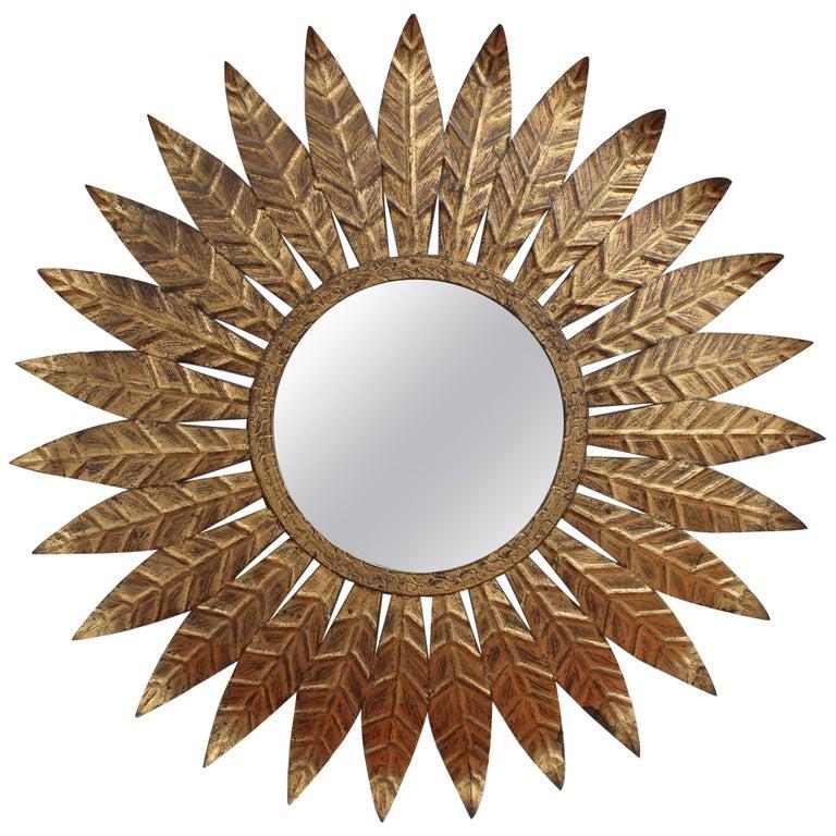 Spanish Gilt Metal Sunburst Mirror, circa 1960s For Sale