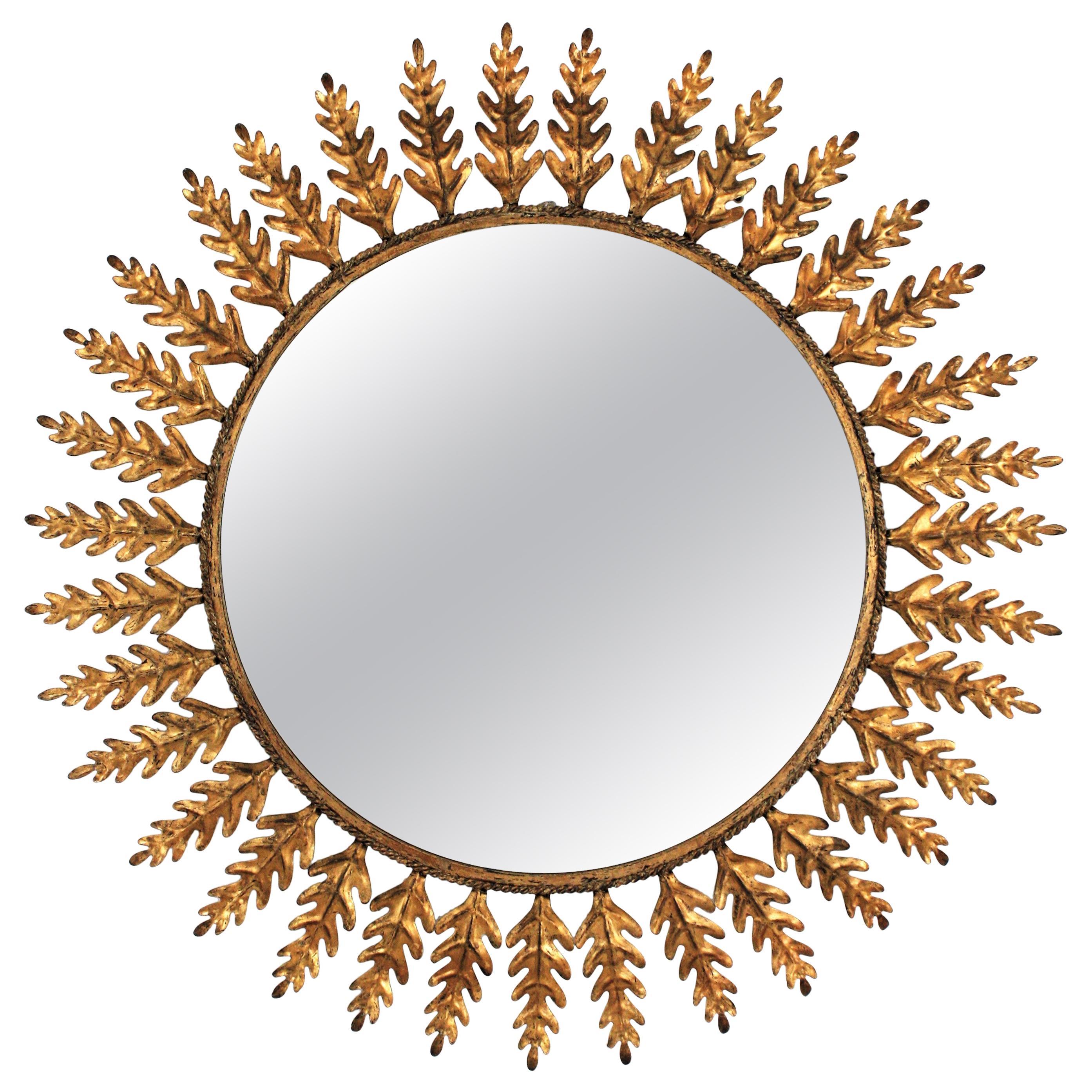 Sunburst Mirror with Leaves Frame in Gilt Metal, Spain, 1960s
