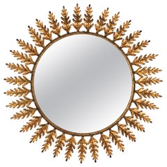 Spanish Gilt Metal Sunburst Mirror with Leaves Frame, 1960s