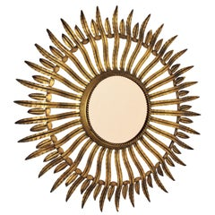 Spanish Gilt Metal Sunburst Mirror with Smoked Bronze Glass