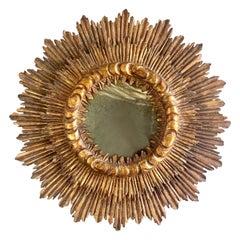 Spanish Gilt Wood Carved Sunburst Mirror, C. 1940's