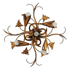 Spanish Gilt Wrought Iron Foliate Floral Chandelier Flushmount Light