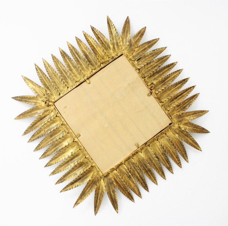 Spanish Gilt Wrought Iron Rhombus Sunburst Mirror, 1950s For Sale 5
