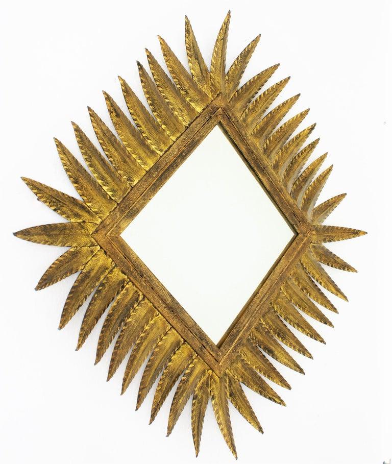 Mid-Century Modern Spanish Gilt Wrought Iron Rhombus Sunburst Mirror, 1950s For Sale