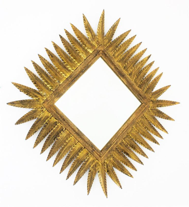 20th Century Spanish Gilt Wrought Iron Rhombus Sunburst Mirror, 1950s For Sale