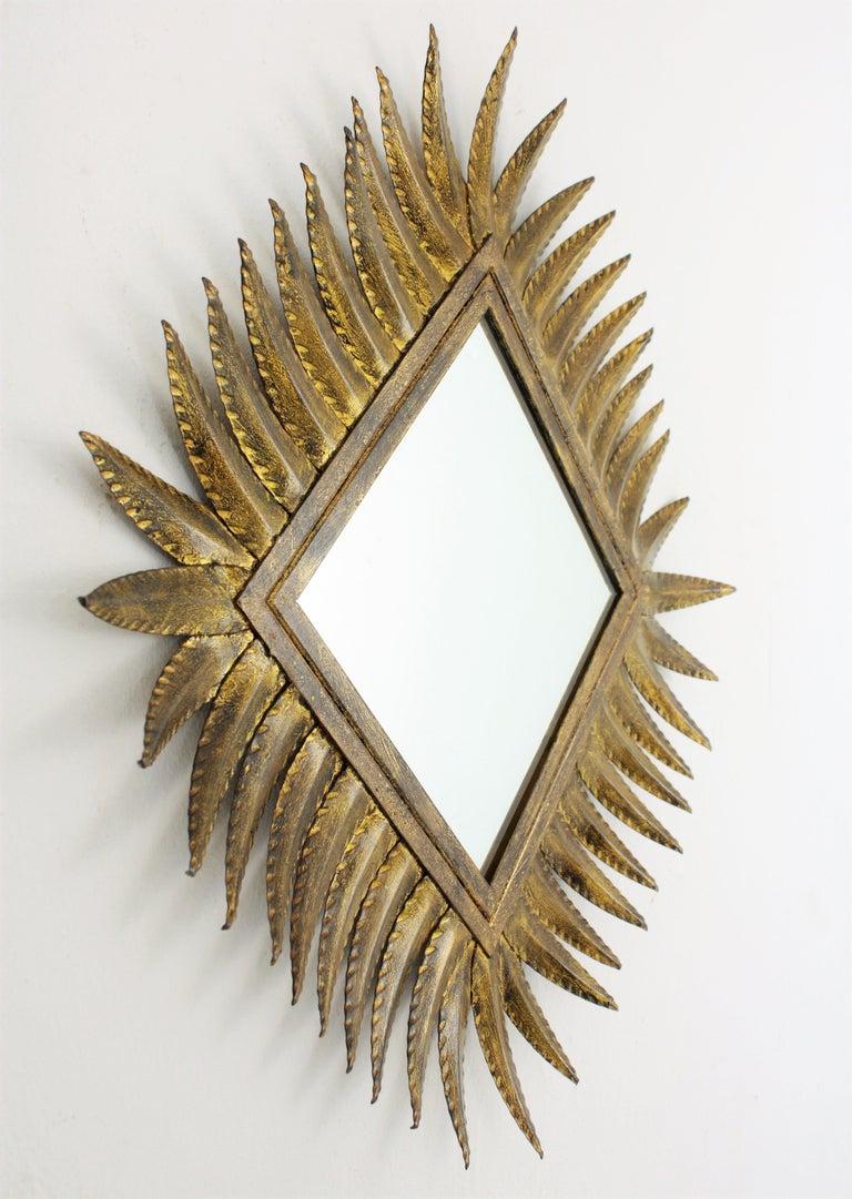 Spanish Gilt Wrought Iron Rhombus Sunburst Mirror, 1950s For Sale 1