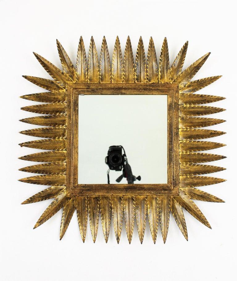 Spanish Gilt Wrought Iron Rhombus Sunburst Mirror, 1950s For Sale 2
