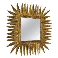 Spanish Gilt Wrought Iron Rhombus Sunburst Mirror, 1950s