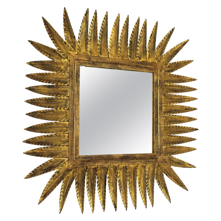 Spanish Gilt Wrought Iron Rhombus Sunburst Mirror, 1950s For Sale