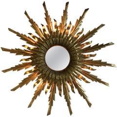 Spanish Giltwood Backlit Sunburst Mirror, circa 1930s