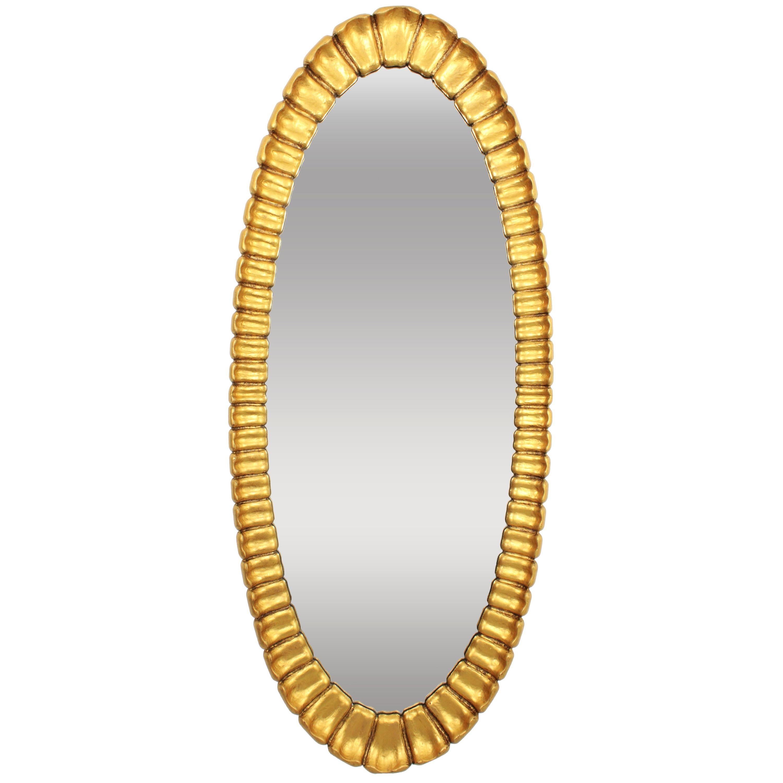 Spanish Giltwood Oval Sunburst Mirror, 1950s