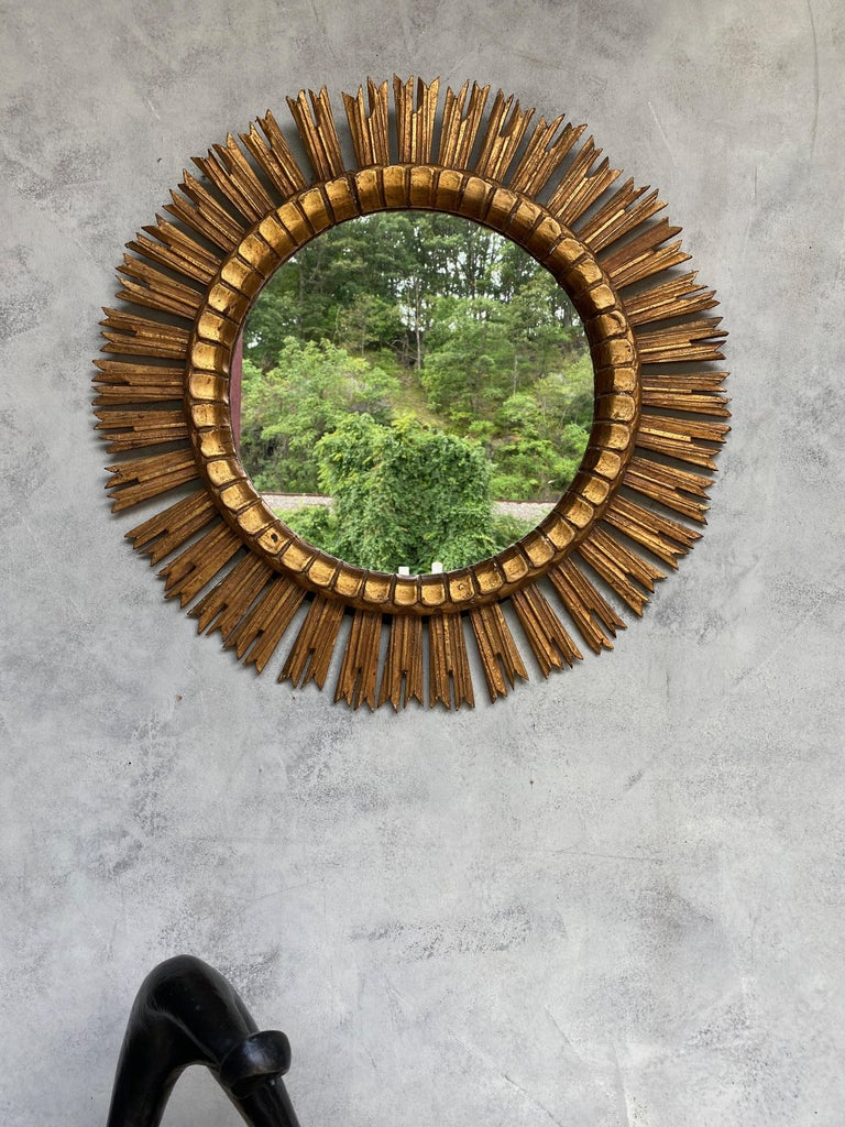Spanish Giltwood Sunburst Mirror For Sale 1