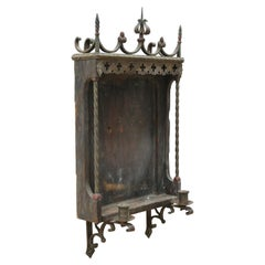 Spanish Gothic Revival Wrought Iron Wall Niche Altar Frame with Candle Sconces