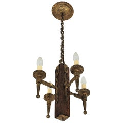 Spanish Gothic Style Chandelier in Gilt Wrought Iron and Wood with Nail Details