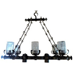 Spanish Gothic Style Large Rectangular Hammered Iron Chandelier, 1960s