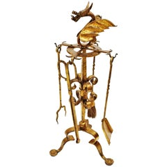 Spanish Gothic Style Wrought Gilt Iron Fireplace Tools Stand with Dragon Motif