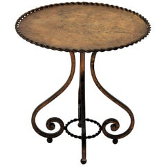 Spanish Gueridon Drinks Occassional Low Side Table in Gilt Wrought Iron