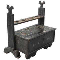 Spanish 'Hachero' Traditional Ancient Stained Wood Candleholder, circa 1933