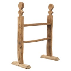Spanish 'Hachero' Traditional Natural Oak Wood Candleholder, circa 1890