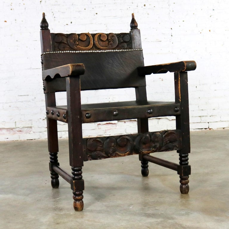 Spanish Hacienda Style Armchair Hand-Carved Leather Artes ...