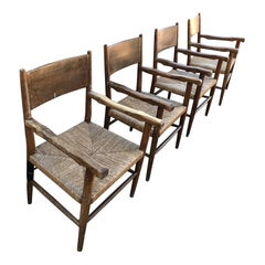 Spanish Hacienda Vintage Mexico Set of Four Chairs Seagrass & Rustic Wood 1950s