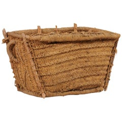 Spanish Handwoven Basket with Lid, Trapezoidal Shaped Body and Natural Fibers